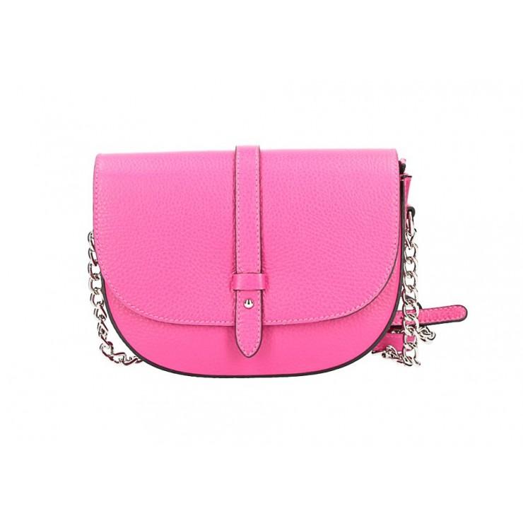 Genuine Leather Shoulder Bag 5344 fuxia