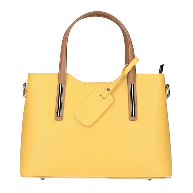 Kožená kabelka do ruky 1364 žltá+koňak Made in Italy