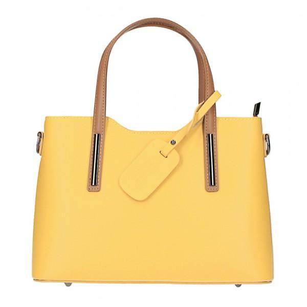 Kožená kabelka do ruky 1364 žltá+koňak Made in Italy Žltá