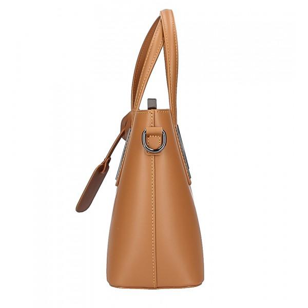 Kožená kabelka do ruky 1364 ružová+koňak Made in Italy Ružová