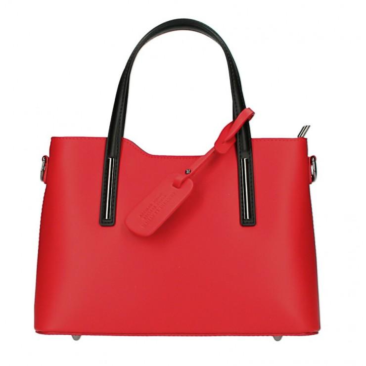 Kožená kabelka do ruky 1364 červená+čierna Made in Italy