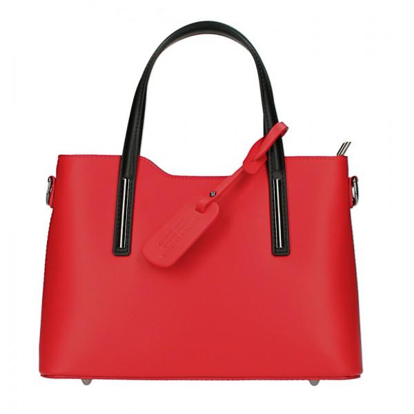 Kožená kabelka do ruky 1364 červená+čierna Made in Italy Červená