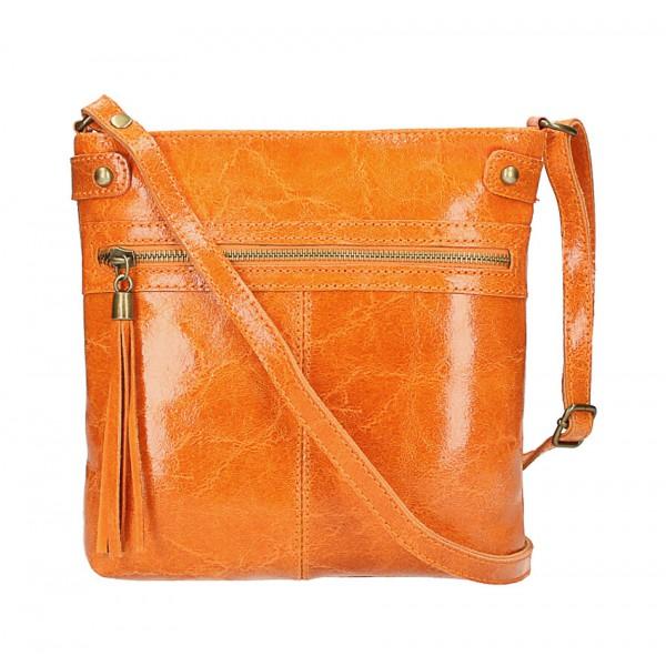 Kožená kabelka na rameno 727 oranžová