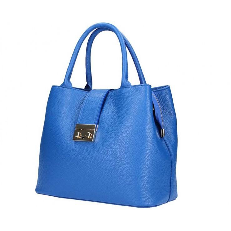 Azurovo modrá kožená kabelka 1137