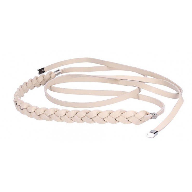 Women's leather braided belt Made in Italy beige