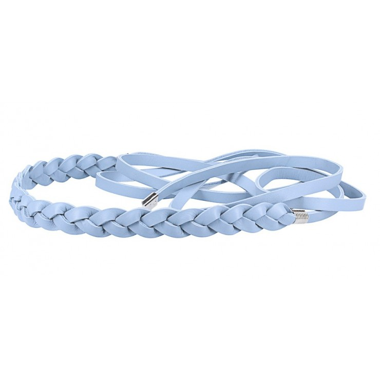 Women's leather braided belt Made in Italy light blue