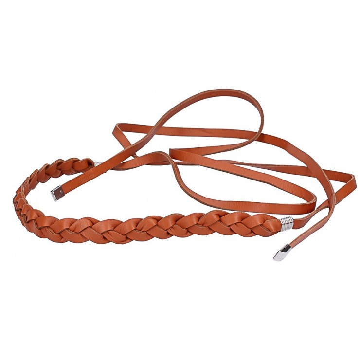 Women's leather braided belt Made in Italy cognac