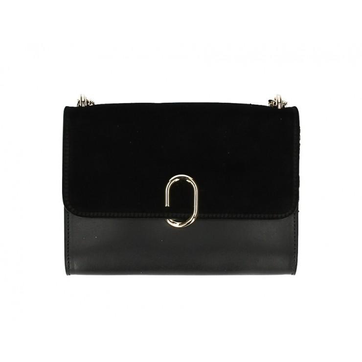 Genuine Leather Handbag MI48 black Made in Italy