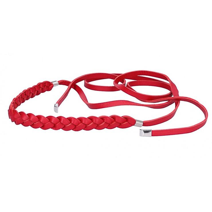 Dámsky kožený prepletaný opasok Made in Italy červený