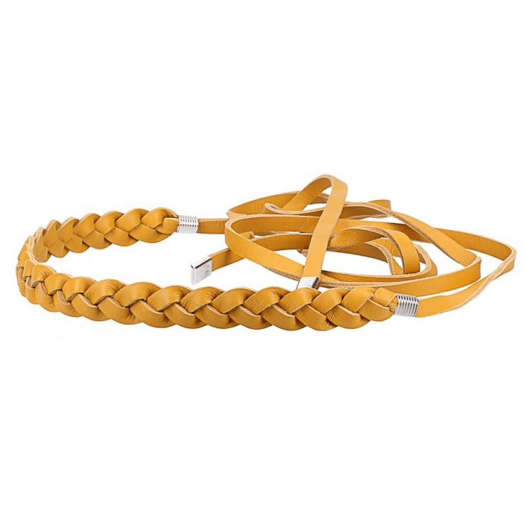 Women's leather braided belt Made in Italy mustard