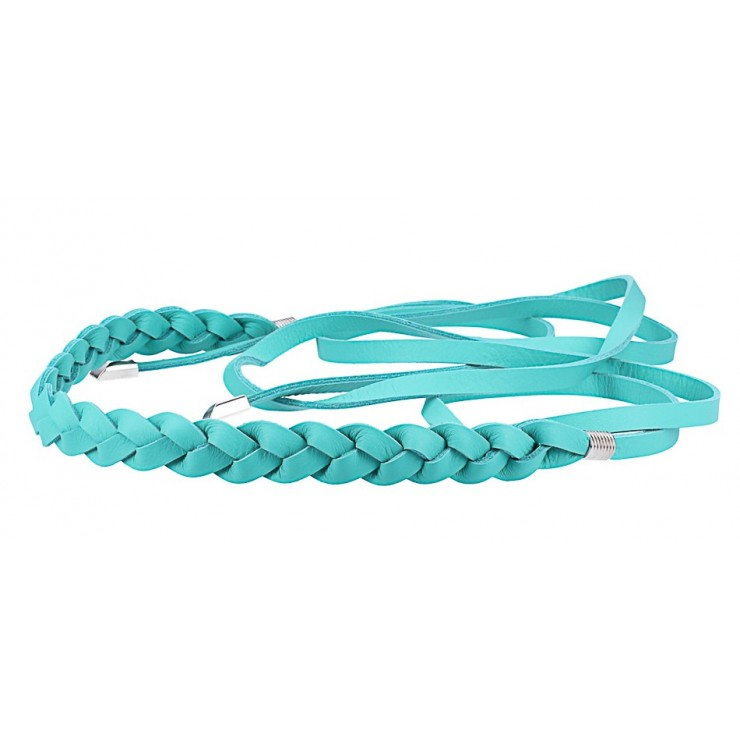 Women's leather braided belt Made in Italy turquoise