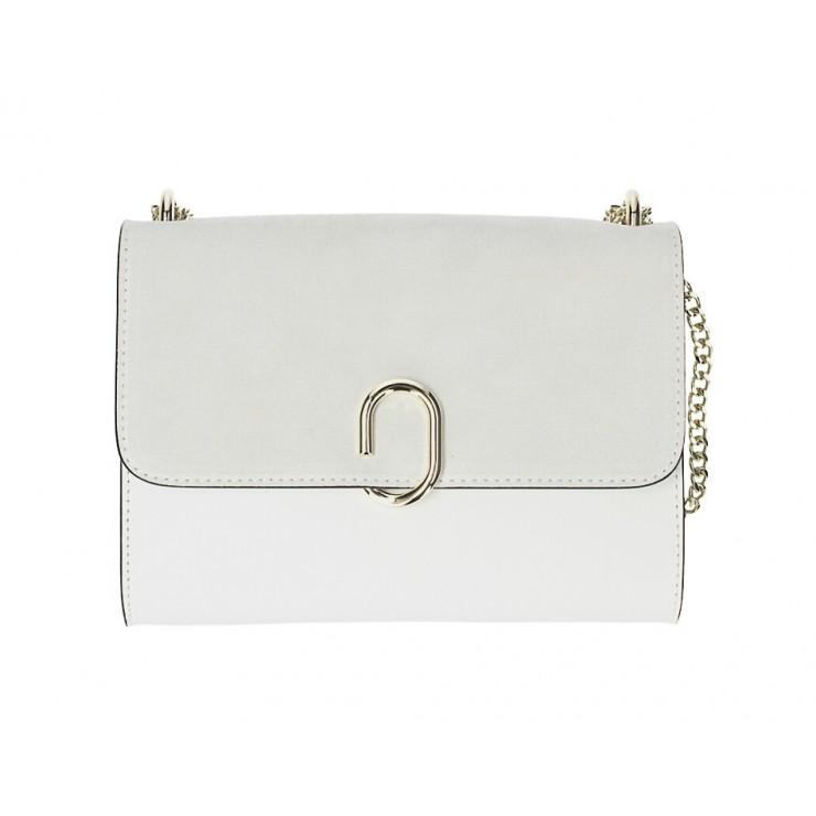 Genuine Leather Handbag MI48 white Made in Italy