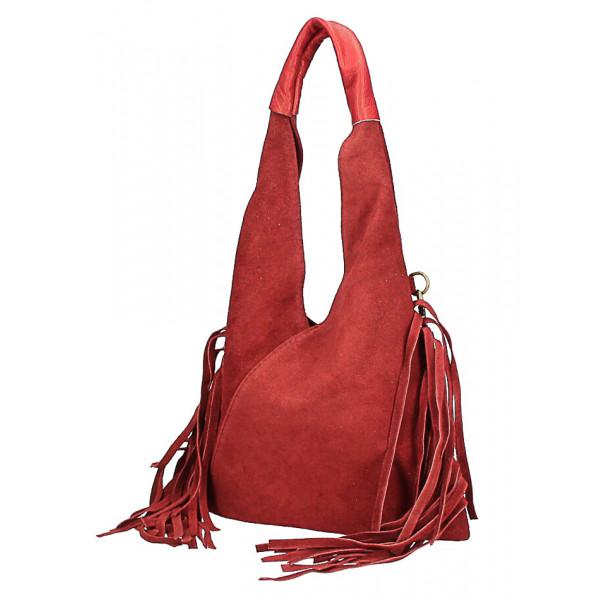 Kožená semišová kabelka MI565 fuchsia Made in Italy Fuchsia