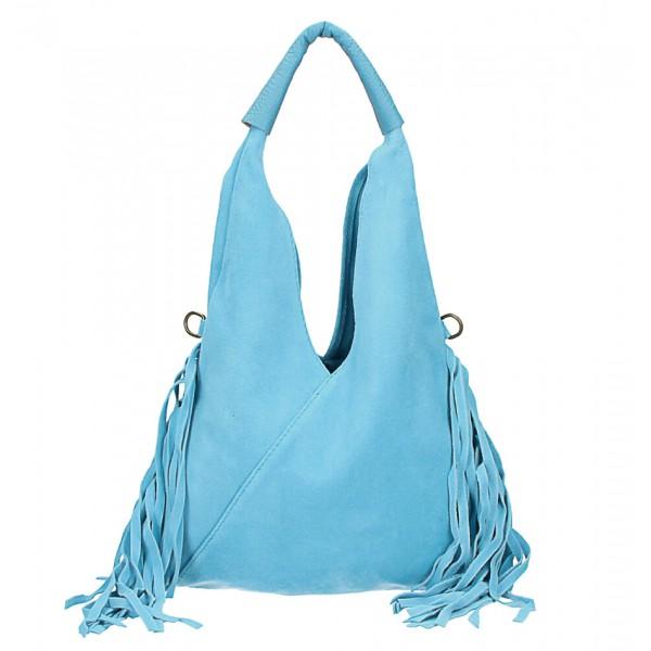 Kožená semišová kabelka MI565 nebesky modrá Made in Italy Nebesky modrá