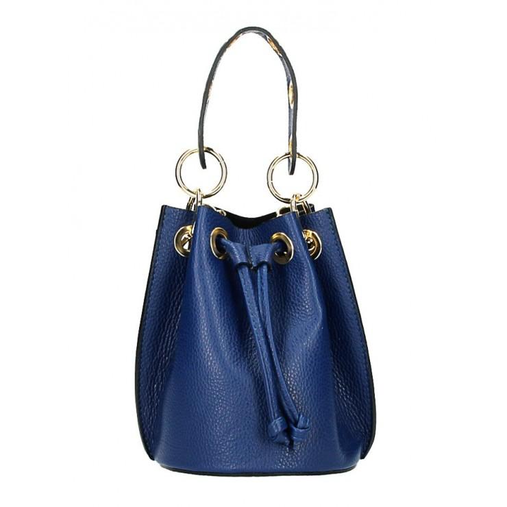 Modrá vaková kožená kabelka 363