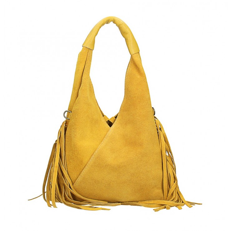 Kožená semišová kabelka MI565 okrová Made in Italy