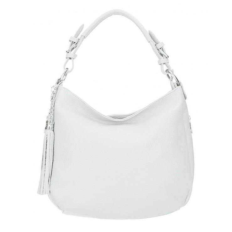 Kožená kabelka na rameno 210 biela Made in Italy
