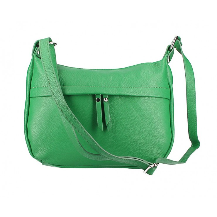 Kožená kabelka na rameno 392 zelená Made in Italy