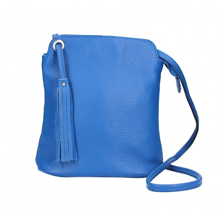 Kožená kabelka na rameno 5320 azurovo modrá
