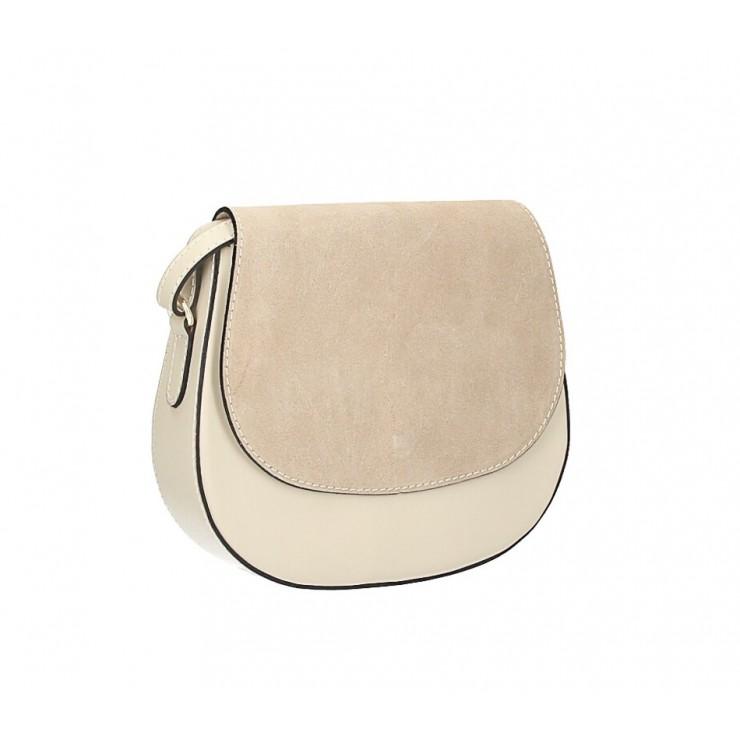 Kožená kabelka na rameno 1228 béžová Made in Italy