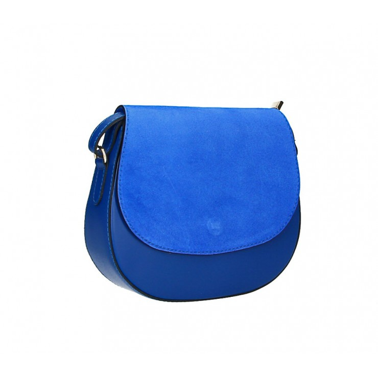 Kožená kabelka na rameno 1228 azurovo modrá Made in Italy