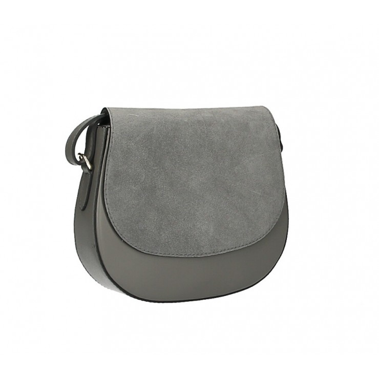 Kožená kabelka na rameno 1228 tmavě šedá Made in Italy