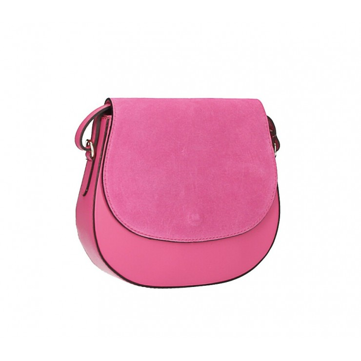 Leather Messenger Bag 1228 fuxia Made in Italy