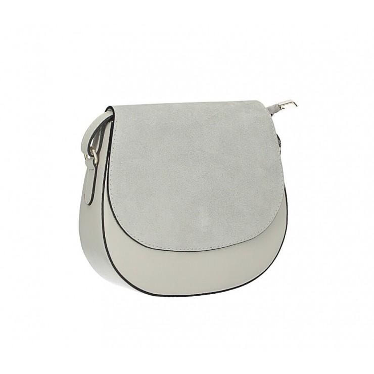 Kožená kabelka na rameno 1228 šedá Made in Italy