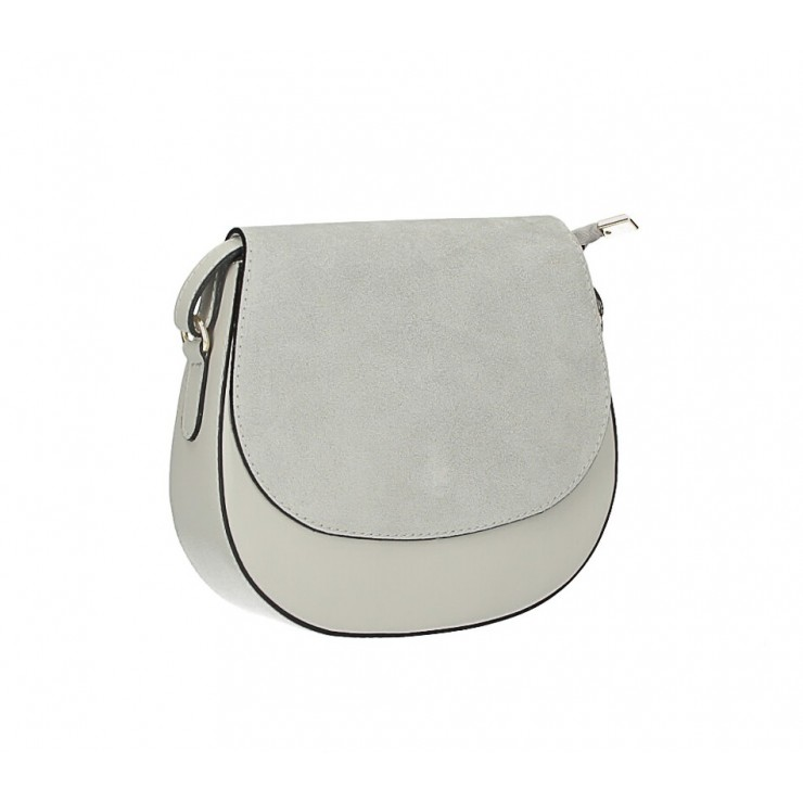 Leather Messenger Bag 1228 gray Made in Italy