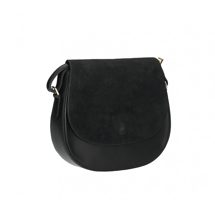 Leather Messenger Bag 1228 black Made in Italy
