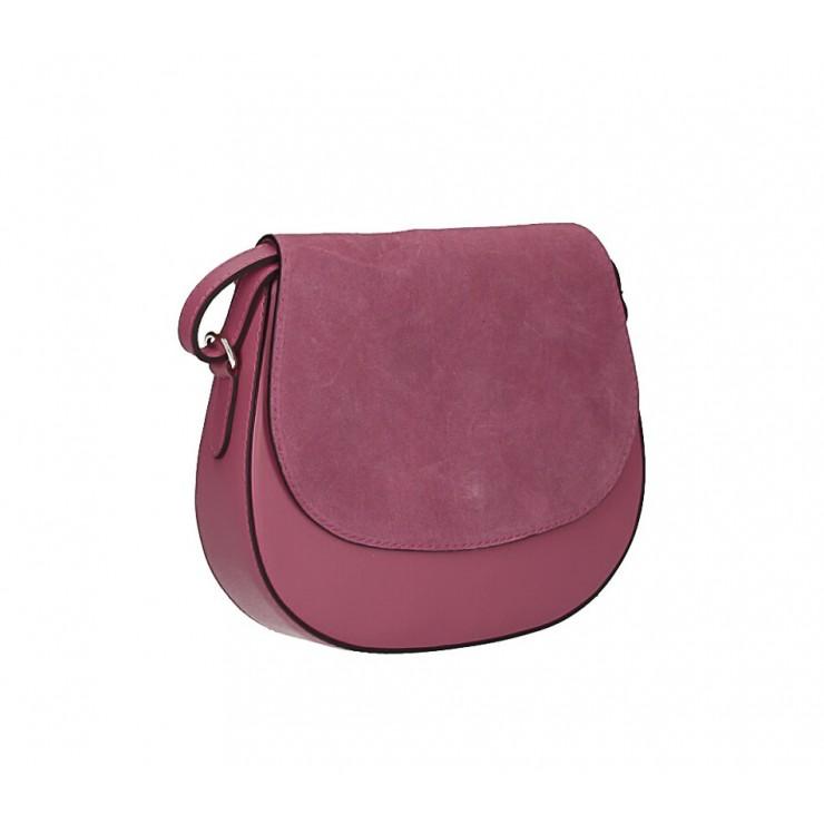 Kožená kabelka na rameno 1228 tmavá ružová Made in Italy
