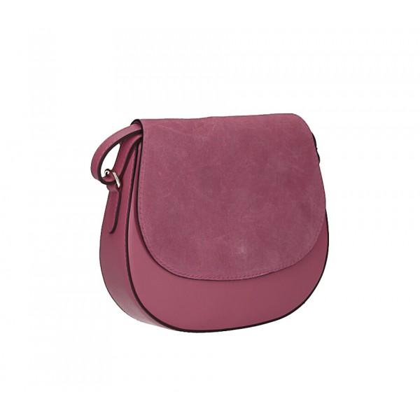 Kožená kabelka na rameno 1228 tmavá ružová Made in Italy Ružová