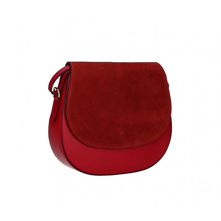 Kožená kabelka na rameno 1228 rudá Made in Italy