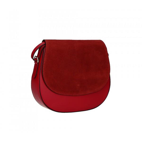 Kožená kabelka na rameno 1228 červená Made in Italy Červená