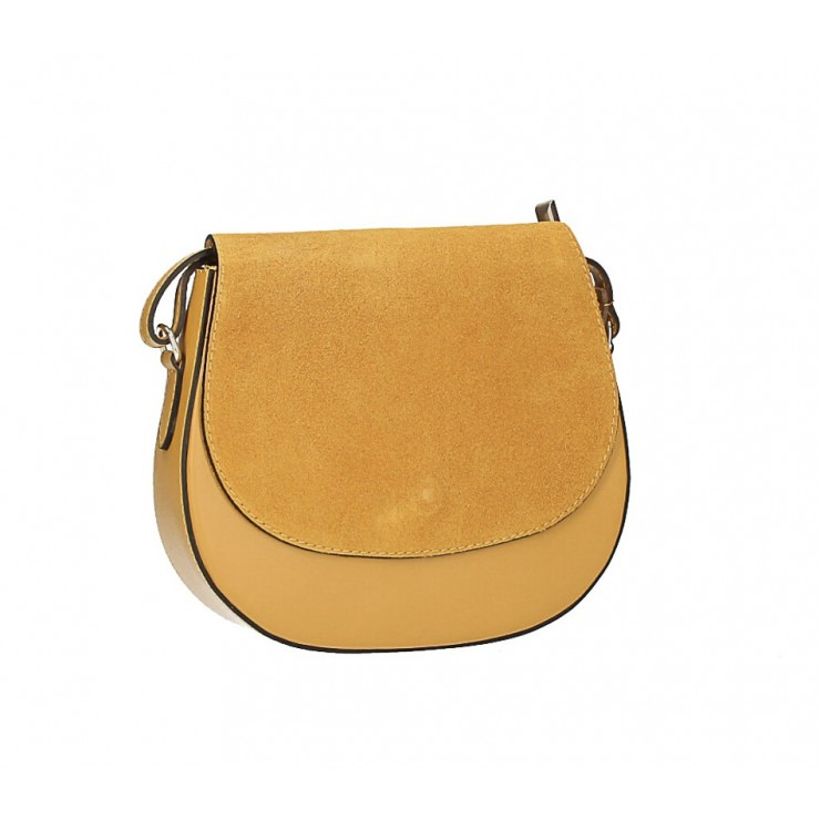 Leather Messenger Bag 1228 mustard Made in Italy