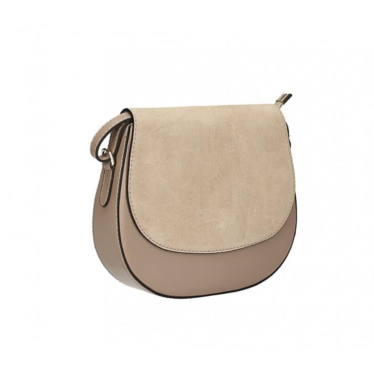Kožená kabelka na rameno 1228 šedohnedá Made in Italy