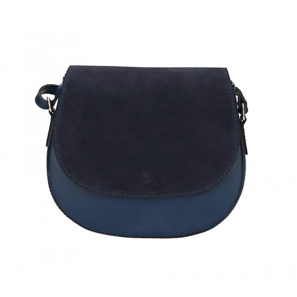 Kožená kabelka na rameno 1228 tmavomodrá Made in Italy Modrá