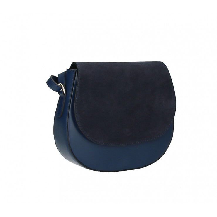 Leather Messenger Bag 1228 dark blue Made in Italy