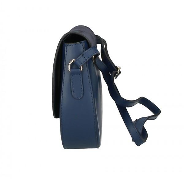 Kožená kabelka na rameno 1228 tmavozelená Made in Italy Zelená