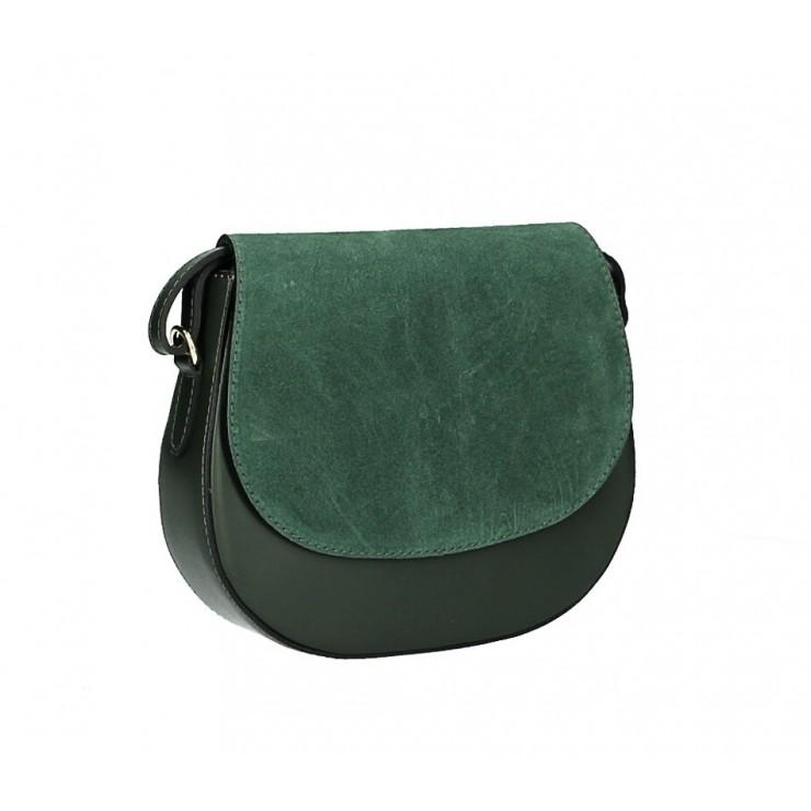 Kožená kabelka na rameno 1228 tmavě zelená Made in Italy