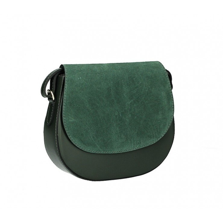 Leather Messenger Bag 1228 dark green Made in Italy