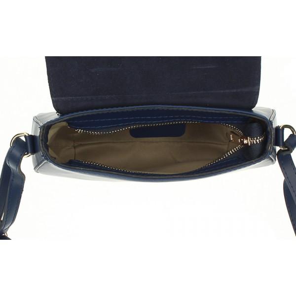Kožená kabelka na rameno 1228 vojenská zelená Made in Italy Zelená