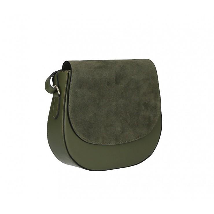 Kožená kabelka na rameno 1228 vojenská zelená Made in Italy