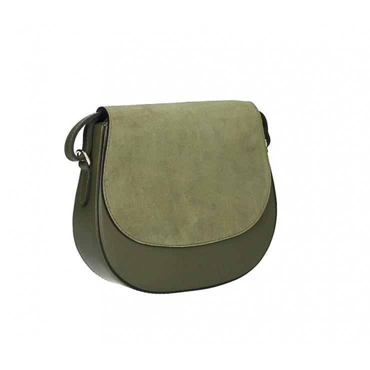 Kožená kabelka na rameno 1228 olivovo zelená Made in Italy
