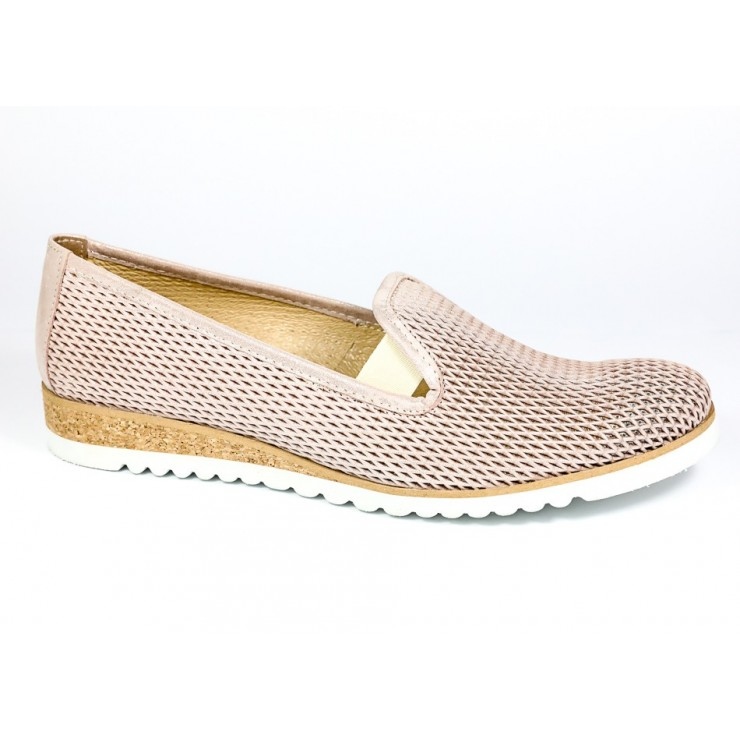 Leather slip-on loafers 99 pearly powder LORETTA VITALE