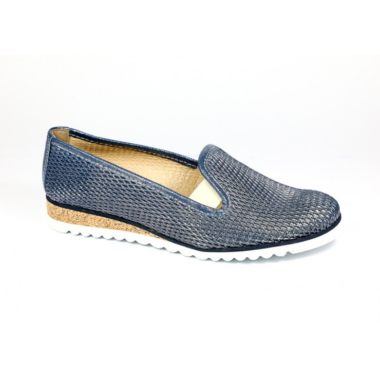 Leather slip-on loafers 99 pearly blue LORETTA VITALE