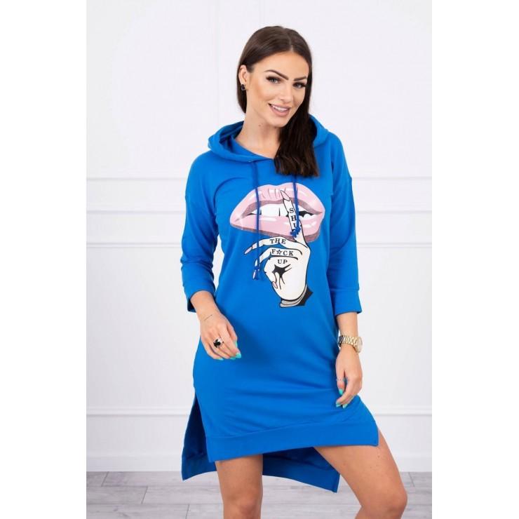 Šaty s prodlouženou zadní stranou a barevným potiskem v předu MI64632 azurově modré
