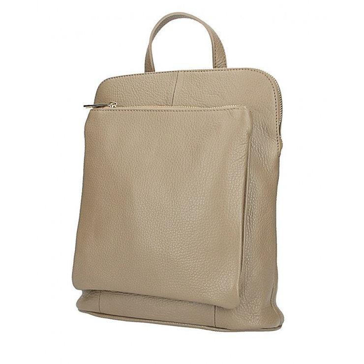 Leather backpack MI899 taupe Made in Italy