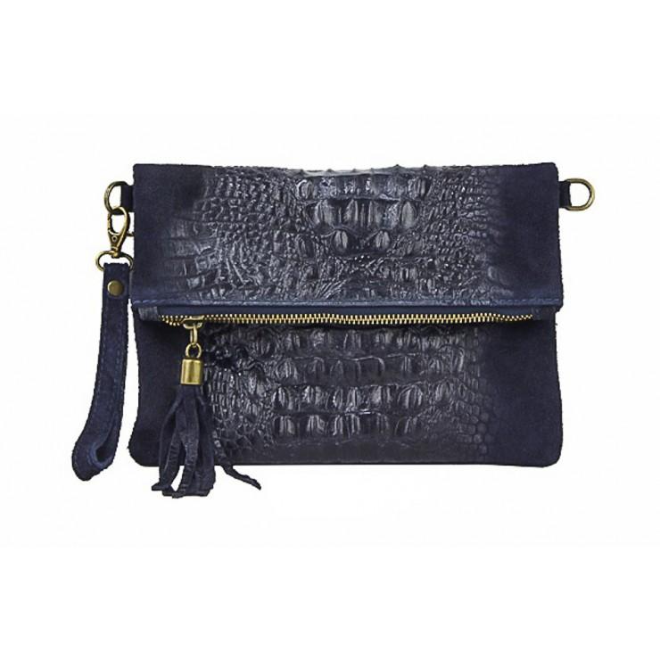 Kožená kabelka krokodíl 630 modrá