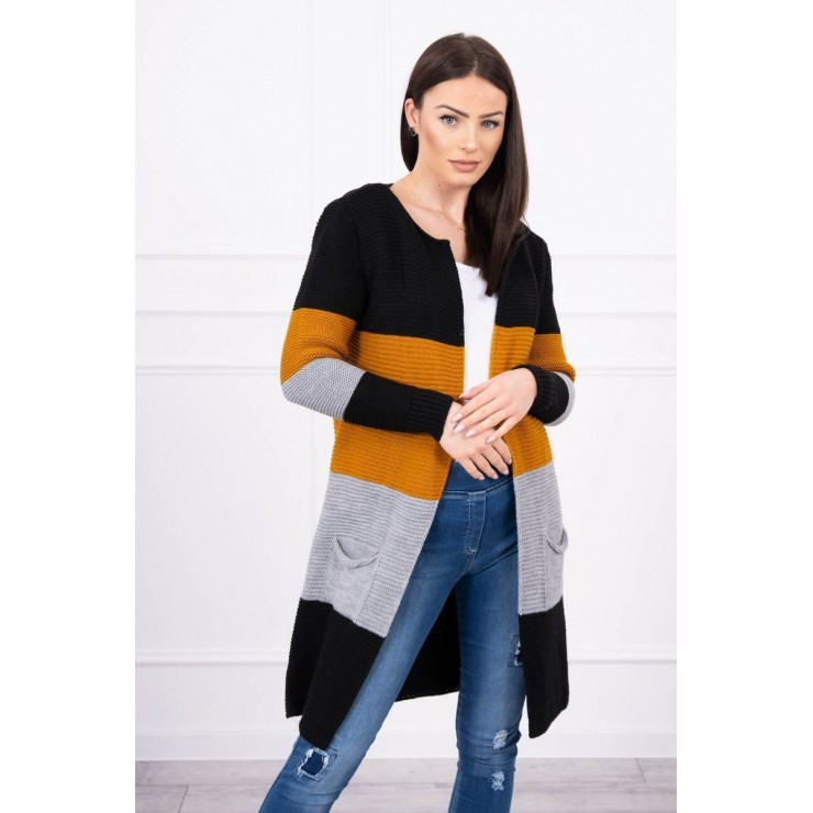 Ladies long sweater with wide stripes MI2019-12 mustard